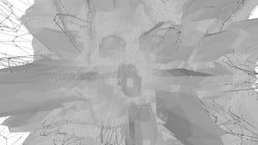 Abstrakt ren svartvit låg poly vinkande yttersida 3D som livlig miljö Grå geometrisk vibrerande miljö stock video