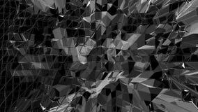 Abstrakt ren svartvit låg poly vinkande yttersida 3D som unik bakgrund Grå geometrisk vibrerande miljö eller stock video
