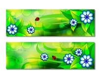 Abstrakt rengöringsdukbaner för vektor med uppsättningen av färgrikt gräs och blommor royaltyfri illustrationer