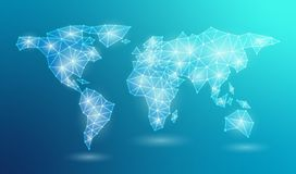 Abstrakt rengöringsdukvärldskarta i polygonal linje Anslutning för globalt nätverk i ett blått neonljus för triangulär form Vekto vektor illustrationer