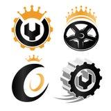 abstrakt reparationsservice specificerar logouppsättningen, beståndsdelar för bilhjul, mekanisk samling för hjälpmedelvektorillus Arkivbilder