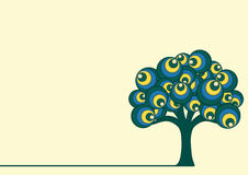 Abstrakt Retro trädvektorillustration royaltyfri illustrationer