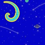 Abstrakt rolig måne för universum w/Crazy Arkivbilder