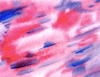 Abstrakt rosa färg- och blåttvattenfärgbakgrund Dekorativ skärm arkivfoto