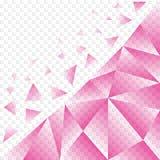 Abstrakt rosa Polygonal textur med brutna stycken i genomskinlig bakgrund stock illustrationer