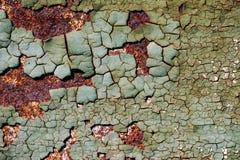 Abstrakt rostig textur med en sprucken grön målarfärg, ark av rostig metall med sprucken och flagig målarfärg, vertikal rostig me Royaltyfri Foto
