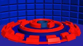 Abstrakt rund bakgrund 4k med blåtttextur och röda cylindrar vektor illustrationer