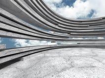Abstrakt rundabetongarkitektur på molnhimmelbakgrund Arkivbild