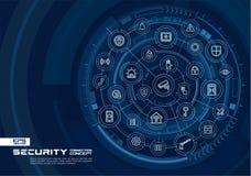 Abstrakt säkerhet, åtkomstskyddbakgrund Digital förbinder systemet med inbyggda cirklar, den glödande tunna linjen symboler royaltyfri illustrationer