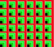 Abstrakt sömlös bakgrund av för svart, röda och gröna linjer för vit och och kvadrerar och kuber Fotografering för Bildbyråer