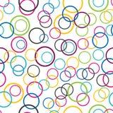 Abstrakt sömlös bakgrund, cirkel ringer på vit bakgrund stock illustrationer