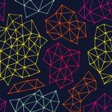 Abstrakt sömlös bakgrund för vektor från trianglar och prickar Ändlös marinblå bakgrund Arkivbild