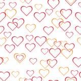 Abstrakt sömlös bakgrund, hjärta ringer på vit bakgrund som prickas, bubblor, varma färger, förälskelse vektor illustrationer