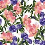 Abstrakt sömlös blom- modell med rosa färg- och blåttfreesia vektor illustrationer