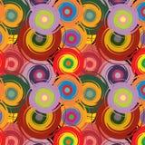 Abstrakt sömlös färgrik modell för vektor med vridna cirklar Arkivbilder