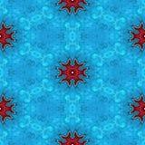 Abstrakt sömlös fryst blå glass textur eller bakgrund med röda snöflingor för juldekor Vektor Illustrationer