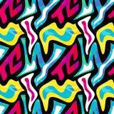 Abstrakt sömlös geometrisk modell med stads- beståndsdelar som hasas, droppar, sprejer, trianglar, neonsprutmålningsfärg Royaltyfri Bild