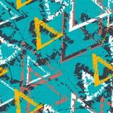 Abstrakt sömlös geometrisk modell med trianglar Grungemodell för pojkar, flickor, sport, mode Stads- färgrik tapet för G stock illustrationer
