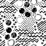 Abstrakt sömlös hand dragen modell modern textur för grunge Monokrom penna-borste målad bakgrund Textur med svart stock illustrationer