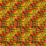 Abstrakt sömlös komplex mosaikmodell i röda, gröna och gula signaler royaltyfri illustrationer