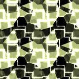 Abstrakt sömlös modell av gräsplan, vit och svarta geometriska former Fotografering för Bildbyråer