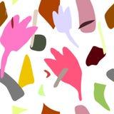 Abstrakt sömlös modell av ljust färgade fläckar Hand drog beståndsdelar Abstrakta böjliga beståndsdelar för pastell vektor illustrationer
