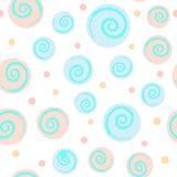 Abstrakt sömlös modell med cirklar och spiral pastell stock illustrationer
