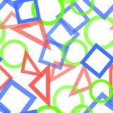 Abstrakt sömlös modell med färgrika blåa, gråa, gula orange kaotiska cirklar och trianglar och fyrkanter på beiga oändlighet stock illustrationer