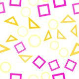 Abstrakt sömlös modell med färgrika blåa, gråa, gula orange kaotiska cirklar och trianglar och fyrkanter på beiga oändlighet vektor illustrationer