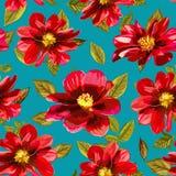 Abstrakt sömlös modell med hand dragen röd blommanolla Royaltyfria Bilder