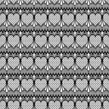 Abstrakt sömlös modellillustration av läckra spets- sidor, blom- och hjärtor i geometrisk orientering stock illustrationer