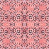 Abstrakt sömlös modellillustration av spets- sidor, blom- och virvlar i geometrisk orientering stock illustrationer