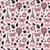 Abstrakt sömlös modellmodestil Kosmetisk handteckning Paris Eiffeltorn Rosa färger för klistermärkear för vektorillustration flic stock illustrationer