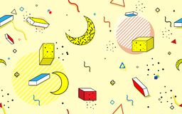 Abstrakt sömlös moderiktig geometrisk linje former Retro stiltextbakgrund vektor illustrationer