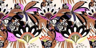 Abstrakt sömlös moderiktig modell med den svarta lotusblommablomman Stock Illustrationer