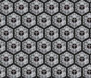 Abstrakt sömlös monokrom polygonmodellbakgrund; Upprepa design för texturtegelplattavektor stock illustrationer