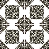 Abstrakt sömlös patchworkmodell för vektor med geometriska och blom- prydnader, stock illustrationer