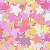 Abstrakt sömlös slumpmässig stjärnabakgrundsmodell - vektordesign från rundade pentagramstjärnor med skuggaeffekt Arkivfoto