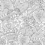 Abstrakt sömlös u med hand-drog klotterhjärtor vektor illustrationer