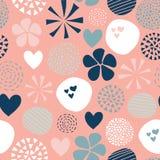 Abstrakt sömlös vektormodell med blommor, prickar, hjärtor i rosa som är vita, korall som är blå Utdraget enkelt kvinnligt för gu vektor illustrationer
