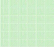 Abstrakt sömlös vit och gröna linjer och fyrkanter och kuber läggas i rader för att bilda en fortlöpande modell Fotografering för Bildbyråer