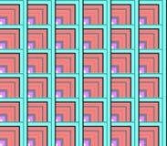 Abstrakt sömlös vit och röda, blåa och gröna linjer och fyrkanter och kuber Royaltyfria Foton