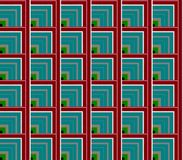 Abstrakt sömlös vit och röda, blåa och gröna linjer och fyrkanter och kuber Royaltyfri Bild
