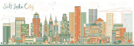 Abstrakt Salt Lake City horisont med färgbyggnader royaltyfri illustrationer