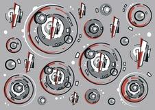 Abstrakt sammansättning av cirklar och linjer vektor illustrationer