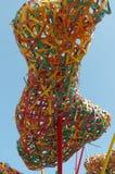 Abstrakt sammansättning av färgrik vävd bambu Arkivfoton