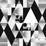 Abstrakt sammansättning av geometriska former med kaotiskt sprider pricklutningar Svartvit modell, bakgrund vektor illustrationer