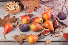 Abstrakt sammansättning av nya mogna frukter och sidor på en vit Royaltyfri Foto
