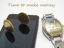 Abstrakt sammansättning av tid och pengar Arkivfoton