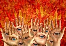 Abstrakt sammansättning med händer och ögon Fotografering för Bildbyråer